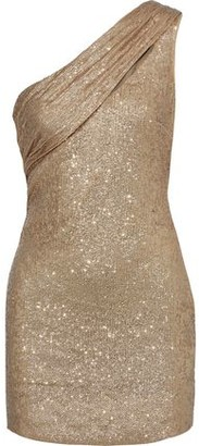 Rachel Zoe Magda One-shoulder Sequined Metallic Stretch-knit Mini Dress