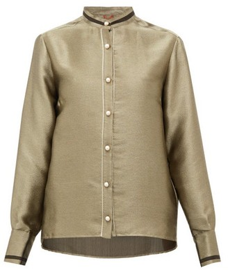 F.R.S For Restless Sleepers Eurito Pearl-button Lame Blouse - Gold