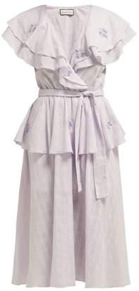 Innika Choo Rose-embroidered Cotton-voile Midi Dress - Womens - Blue Multi