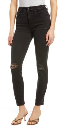 Good American Good Waist Distressed High Waist Ankle Skinny Jeans