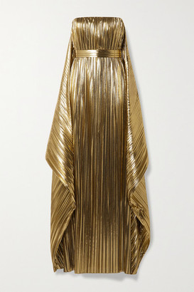 Semsem Belted Draped Pleated Lame Gown - Gold