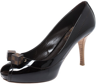 Louis Vuitton Dark Brown Vernis Leather Dice Peep Toe Platform Pumps Size 36