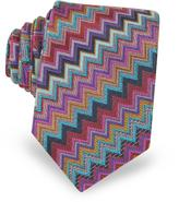 Missoni Diagonal Zig Zag Woven Silk Men's Narrow Tie