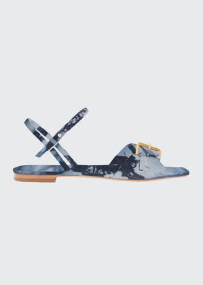 Ulla Johnson Sofia Printed Leather Buckle Flat Sandals