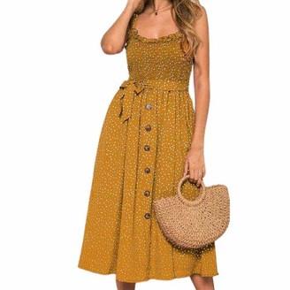 MCCKLE Womens Summer Beach Ruffles Pleated Dot Dress Ladies Stretch Sleeveless Black Medium