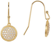 Rivka Friedman 18K Gold Clad Pave Simulated Diamond Disc Hook Earrings