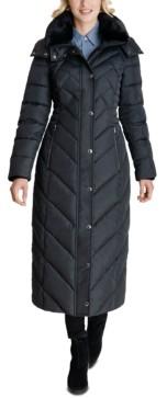 London Fog Faux-Fur-Trim Hooded Maxi Puffer Coat