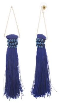 Catherine Malandrino Women's Blue Rhinestone Dangling Yellow Gold-Tone Blue Tassel Earrings