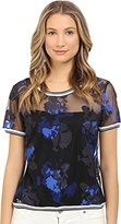 Armani Jeans Women's Poly Mesh with Floral Georgette Application
