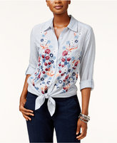 Style&Co. Style & Co Petite Cotton Striped Embroidered Shirt, Created for Macy's