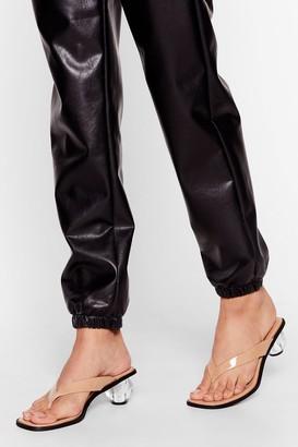 Nasty Gal Womens Play Ball Thong Clear Heels - Beige - 3