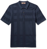 Burberry Piqué-panelled Silk And Cotton-blend Polo Shirt - Navy