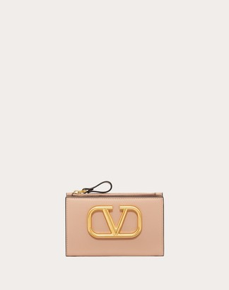 Valentino Vlogo Coin Purse And Cardholder Women Rose Cannelle Calfskin 100% OneSize