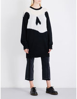 McQ Oversized swallow-intarsia mohair-blend dress