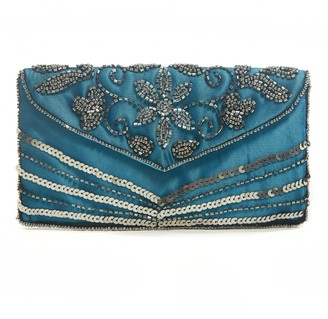 Jywal London Victoria Blue Embellished Small Evening Clutch Purse