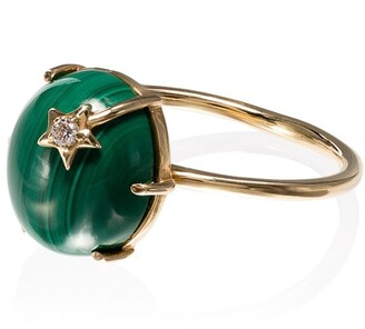 Andrea Fohrman 18kt yellow gold malachite Galaxy diamond ring