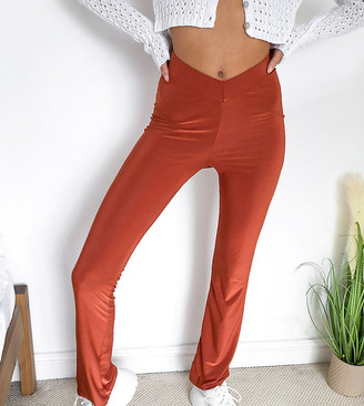 Collusion dipped waist disco flares in rust