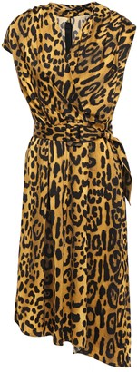 Adam Lippes Belted Wrap-effect Leopard-print Satin-crepe Dress