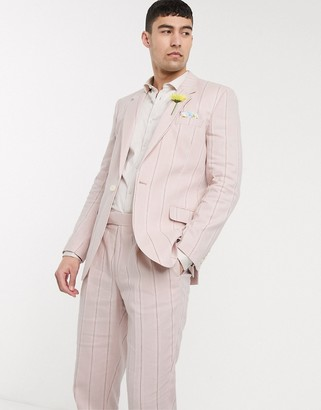 ASOS DESIGN wedding slim suit jacket in stretch cotton linen in pink and white stripe