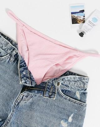 Topshop textured bikini bottoms in pink