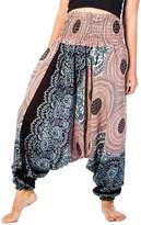 Lofbaz Women's Rose 2 Smocked Waist Flower 2 in 1 Harem Pants Jumpsuit Purple XL