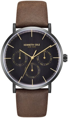 Kenneth Cole New York Chronograph Black Dial Leather Strap Watch