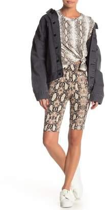 Blvd Snake Skin Print Midi Thigh Biker Shorts
