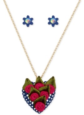 Betsey Johnson Gold-Tone Fabric Rose Heart Pendant Necklace & Pave Flower Stud Earrings Set