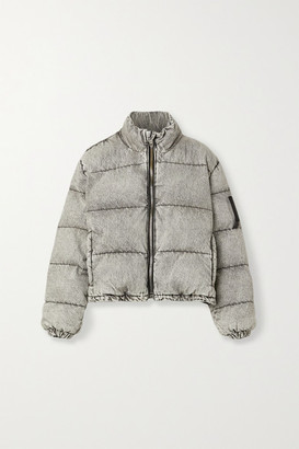 Alexander Wang Quilted Padded Acid-wash Denim Jacket - Light gray