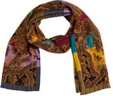 Etro Wool & Silk Embroidered Scarf