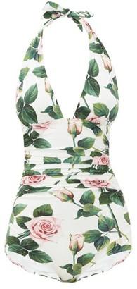 Dolce & Gabbana Halterneck Ruched Rose-print Swimsuit - Womens - White Print
