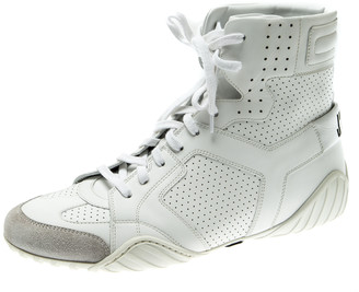 Christian Dior White Perforated Leather Ankle Length Sneaker Boots Size 39