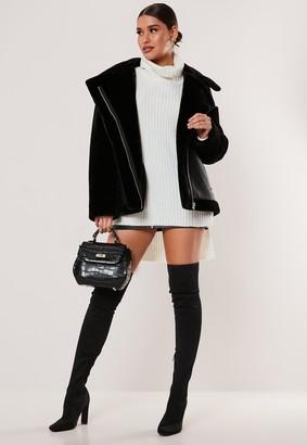 Missguided Black Faux Fur Sleeve Oversized Aviator Jacket
