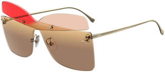 Fendi Rimless Mirrored Butterfly Sunglasses
