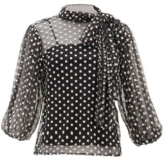 RED Valentino Daisy-embroidered Mesh Pussy-bow Blouse - Womens - Black