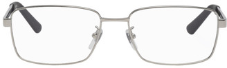 Gucci Silver and Green Rectangular Glasses
