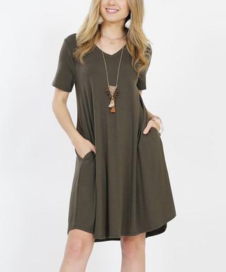 Lydiane Women's Casual Dresses DK.OLIVE - Dark Olive V-Neck Short-Sleeve Curved-Hem Pocket Tunic Dress - Women