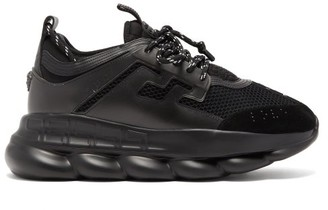 Versace Chain Reaction Mesh And Suede Trainers - Mens - Black