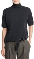 Brunello Cucinelli Short-Sleeve Turtleneck Cashmere Sweater, Onyx