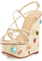 Charlotte Olympia Elizabeth Jeweled Wedge Sandal, Natural