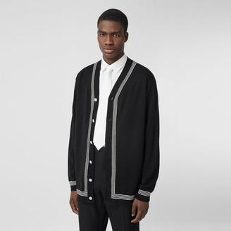 Burberry Stripe Detail Merino Wool Oversized Cardigan