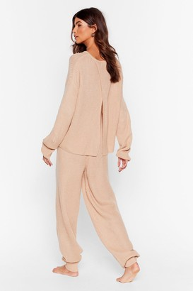 Nasty Gal Womens Luxe Back at It Knit Jumper and Jogger Lounge Set - Beige - S
