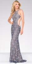 Jovani Fitted Halter Racer Back Lace Prom Dress