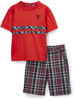 Beverly Hills Polo Club Collegiate Red Tee & Plaid Shorts - Boys