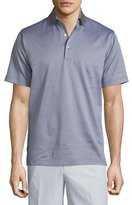 Peter Millar Jacquard Short-Sleeve Lisle Knit Polo Shirt, Gray