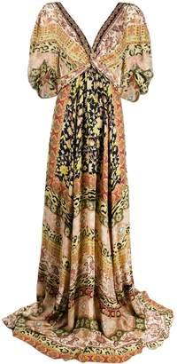 Etro Mixed-Print Silk Maxi Dress