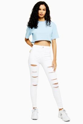 Topshop Womens White Super Ripped Joni Jeans - White