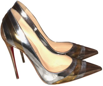 Christian Louboutin So Kate Silver Patent leather Heels