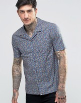 Pretty Green Shirt with All Over Floral Print In Slim Fit