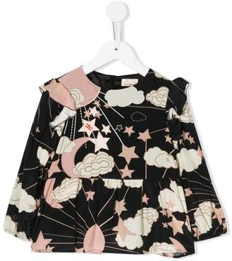 Elisabetta Franchi La Mia Bambina embroidered long-sleeve blouse